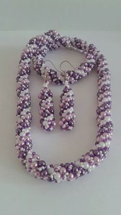 Beaded handmade jewelry set - including necklace and matching earrings by ZsombiLand on Etsy