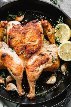 Steamed Chicken, Lemon Chicken, Roasted Chicken, Tandoori Chicken, Garlic Recipes, Easy Chicken Recipes, Chicken Under A Brick, White Chicken Chili