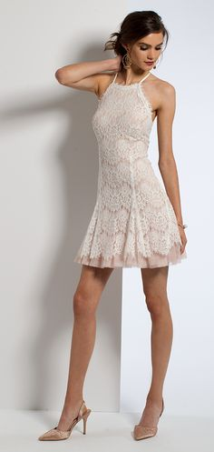 Lace Halter Dress #c