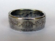 Welcome!    These coin rings are beautifully handcrafted and hand polished 92% Silver 1912 Canadian coin rings in sizes 6-12. These rings feature a
