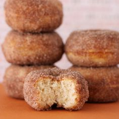 Babycakes vanilla donuts with cinnamon and sugar! Made these yesterday with my Babycakes donut maker and they are amazing. <3