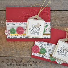 stitched shapes christmas cards - krista frattin