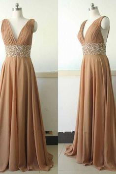 V-neck Long Chiffon Prom Dress es Crystals Floor Length Women Dresses