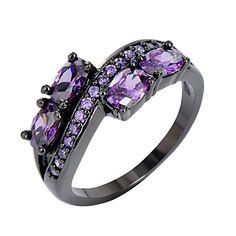 val Cut Purple Amethyst Birthstone Ring, Black Gold Plated, Oval Cut