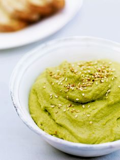 Broad bean houmous is a lighter alternative to its chickpea cousin. Dunk crudités of vegetables such as baby carrots and sugar snap peas.