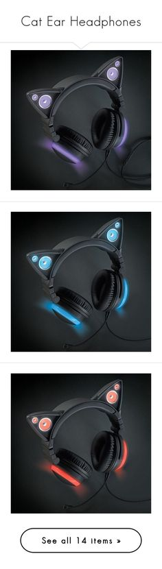 """""""Cat Ear Headphones"""" by maxinehearts ❤ liked on Polyvore featuring accessories, tech accessories, cat ear headphones, electronics, headphones, grey and jewelry"""