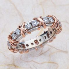 14k Rose Gold And White Gold Xs & Os Wedding Anniversary Band