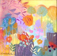 Original Acrylic Painting on Canvas - Sunlit Trees - Signed Annabel Burton
