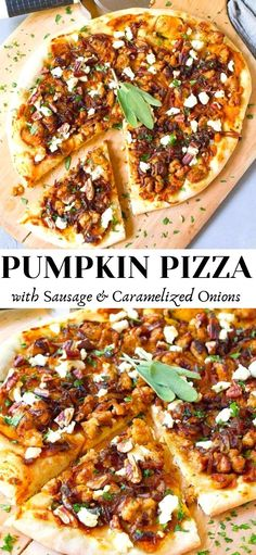 Pumpkin pizza with Italian chicken sausage, caramelized onions and goat cheese is a fantastic way to shake up your holiday meals! This was a huge hit with my whole family. 294 calories and 8 Weight Watchers SP | Halloween | Holidays | Base | Squash | Dough | Toppings #pumpkinpizza #sausagepizza #pumpkinrecipes #halloween #thanksgiving Supper Recipes, Top Recipes, Fall Recipes, Healthy Pizza, Healthy Foods, Healthy Recipes, Pizza Pizza, Pizza Party, Clean Eating Pasta
