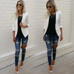 Birthday outfit jeans casual New ideas Spring Outfits, Trendy Outfits, Fashion Outfits, Womens Fashion, Fashion 2017, Fashion Styles, Fashion Clothes, Trendy Fashion, Fashion News