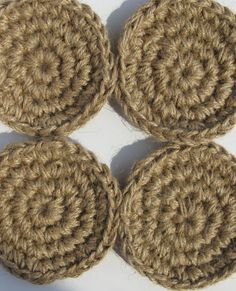 Jute Coasters Mugs Mat Cup Mat Crocheted by HandmadeByzVyara