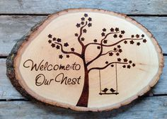 Welcome to our Nest, Wood burned sign with blossom tree and love birds, unique housewarming gift, newlyweds
