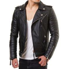 New Men's Leather Jacket Black Slim fit Biker Motorcycle genuine lambskin jacket #Handmade #BasicJacket
