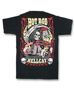 Hotrod Hellcat Herren T-Shirt. Biker, Tattoo, Rockabily, Custom, Oldschool Style