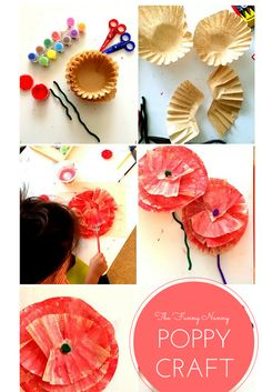 Check 3 amazing crafts for of July and Memorial day! Easy Memorial Day Crafts for Kids Poppy flower made out of coffee filters Preschool Crafts, Fun Crafts, Crafts For Kids, Arts And Crafts, Poppy Craft, Fine Motor Activities For Kids, Anzac Day, Remembrance Day, Veterans Day
