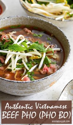 Authentic beef pho (pho bo) that will captivate you with its aroma and the taste that seamlessly combines salty, sweet, and umami all in one. Beef Pho Soup Recipe, Best Pho Recipe, Pho Recipe Easy, Vietnamese Pho Soup Recipe, Pho Beef, Best Soup Recipes, Chicken Soup Recipes, Beef Recipes, Cooking Recipes