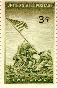 Marines at Iwo Jima 3 cent postage stamp issued Washington, D.C. July 11, 1945, 137,321,000 stamps were sold.