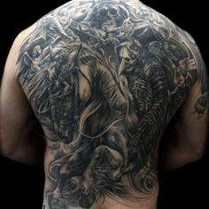 pestilence back piece #tattoo #tattoos #tonymancia #blackandgrey #ink #tattooartist #skull #skulls #horse #pestilence #backpiece