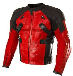 Red And Black Armored Deadpool Motorcycle Jacket Specifications: - External: Real Leather - Internal: Viscose - Front: Zip Closure - Pockets: Two Outside and Two Inside Pockets - Processing Time: 10 T