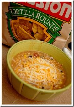 CHICKEN TORTILLA SOUP    1 can chicken broth    1 can cream of chicken soup    2 tbsp taco seasoning    1 can diced tomatoes    1 can black beans    1 can whole kernel corn    1 can diced green chiles    3-4 chicken breasts, cooked. So good!