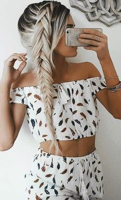 #summer #girly #outfits |  Leaf Print Set