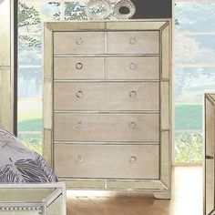 Loraine Modern Victorian Style Chest With Loop Handles, Silver