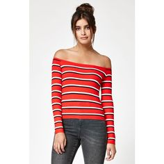 Kendall & Kylie Stripe Off-The-Shoulder Sweater (120 AED) ❤ liked on Polyvore featuring tops, sweaters, red off shoulder top, red stripe sweater, red off the shoulder top, multi colored striped sweater and red off shoulder sweater