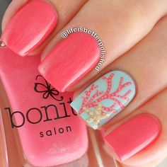 Peach nails. Ocean Nail art. Nail design. Bonita Polish. Polishes. by @lifeisbetterpolished