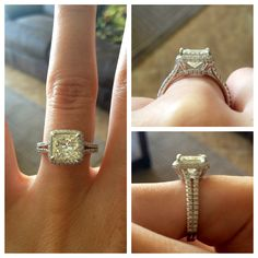 Princess cut diamond in a cushion setting. I Do! Plan My Wedding, Dream Wedding, Wedding Day, Wedding Rings, Wedding Dreams, Rings For Her, Second Weddings, Dream Ring, Princess Cut Diamonds