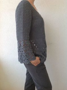 Mujeres Crochet Cardigan gris Crochet secuestrada/del