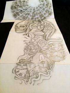 Half Sleeve Tattoos Designs, Best Sleeve Tattoos, Tattoo Designs, Chicano Art Tattoos, Gangsta Tattoos, Evil Tattoos, Skull Tattoos, Tattoo Stencils, Tattoo Fonts