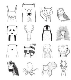 ilustration ↟ ↟ T H E W I L D ↟ ↟ Modern apparel for hip kids. von TheWildKidsApparel Browse unique items from TheWildKidsApparel on Etsy, a global marketplace for handmade, vintage and creative goods. Tier Doodles, Animal Doodles, Doodle Art, Baby Animals, Art Drawings, Drawings On Hands, Small Drawings, Print Patterns, Illustration Art