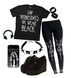 """On Wednesdays, we wear black"" by spooky-von-spookybatt ❤ liked on Polyvore"