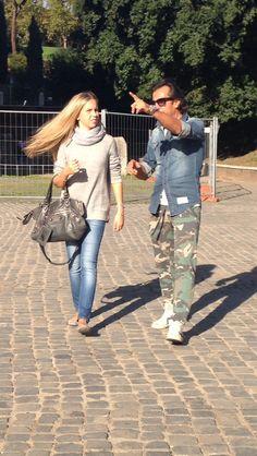 Giorgia Marin and father, politician Luca Marin, walking in Rome, Italy.