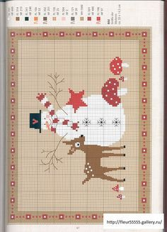 snowman, mushrooms, deer free cross stitch pattern for winter