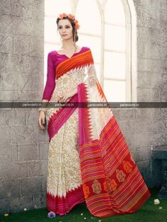 Off White Georgette Printed Classy Casual Saree parisworld. Crepe Saree, Georgette Sarees, Casual Saree, Saree Models, Best Deals Online, Classy Casual, Traditional Sarees, Saree Collection, Sarees Online