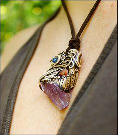 Amethyst pendant healing jewelry amethyst necklace by SweetlyART #amethyst #rawamethyst #rawcrystal #boho #bohemian #spiritualjewelry #handmade #ayahuasca #shamanic #claypendant #polymerclay #fimo #mistyc #pagan #newage #elvish #fantasy #fairy #reiki #yogajewelry #etsy #sweetlyart #festivaljewelry #gypsy #hippie  #motherearth
