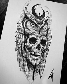 Marquesan tattoos owl skull tattoo, skull tattoo design for men,. - Marquesan tattoos owl skull tattoo, skull tattoo design for men, simple skull tatto - Owl Skull Tattoos, Owl Tattoo Drawings, Tattoo Sketches, Body Art Tattoos, Small Tattoos, Sleeve Tattoos, Tattoo Owl, Tattoo Animal, Tattoo Hand