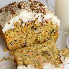 Start your holiday baking with this Frosted Carrot Cake Loaf. Loaded with pecans, grated carrots and raisins and topped with homemade cream cheese frosting. Carrot Cake Loaf, Cinnamon Cream Cheeses, Cream Cheese Frosting, Baking Tips, Holiday Baking, Raisin, Food Videos, Whole Food Recipes, Banana Bread