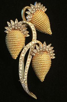 Vintage Strawberries Vine Floral Rhinestones Brooch Pin Gold Tone Signed Coro #Coro