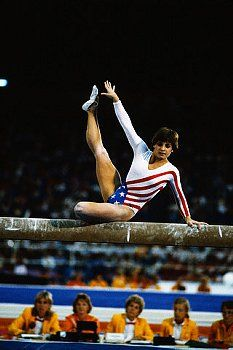 Mary Lou Retton (United States) on beam at the 1984 Los Angeles Olympics