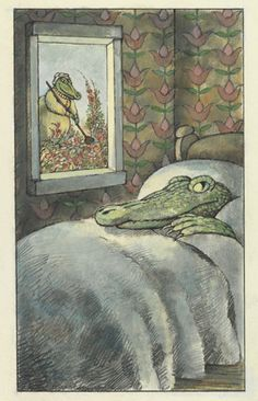 "Arnold Lobel, ""The Crocodile in the Bedroom,"" final illustration for Fables, 1980. Graphite, ink, and watercolor on paper, 17 15..."