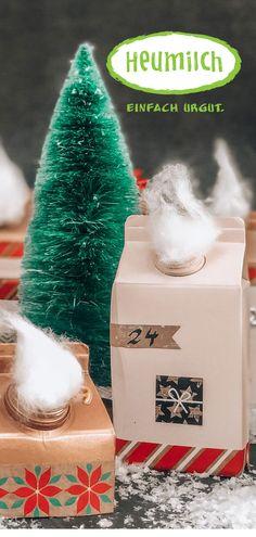 Eine nachhaltige und tolle Weihnachts-Bastelei erwartet euch hier, ganz einfach mit alten Heumilch-Kartons und sehr wirkungsvoll! Advent, Bricolage, Simple, Hay, Milk, Paper Board, Calendar, Amazing, Repurpose