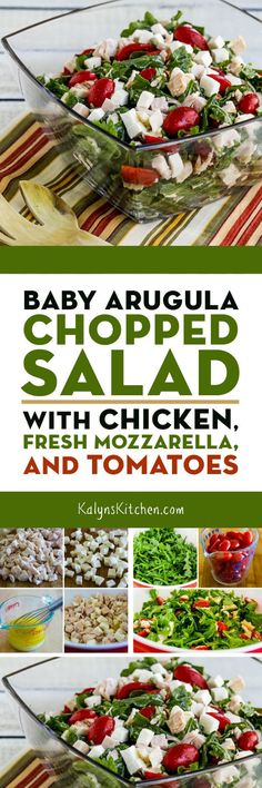 Baby Arugula Chopped Salad with Chicken, Fresh Mozzarella, and Tomatoes – Kalyn's Kitchen Healthy Eating Recipes, Healthy Salads, Baby Food Recipes, Yummy Appetizers, Appetizer Recipes, Salad Recipes, Baby Arugula, Arugula Salad, Side Dishes Easy