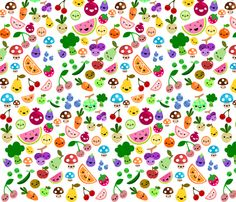 cluttered fruits fabric by berrysprite on Spoonflower - custom fabric (I need this in my kitchen)
