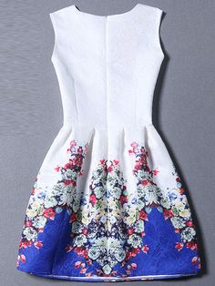 Colour Sleeveless Graffiti Print Jacquard Dress -SheIn(Sheinside) Mobile Site