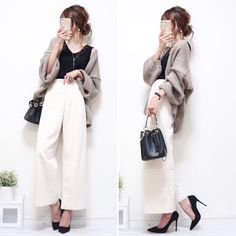 30 hottest winter outfits cold ideas to wear right now Work Casual, Smart Casual, Work Pants, Wide Leg Pants, Japan Fashion, Everyday Outfits, Cute Dresses, Work Wear, Winter Outfits