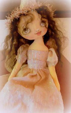 OOAK Fairy Angel cloth doll in taupe  pink and silver by suziehayward, $135.00
