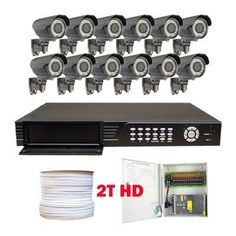 """Complete 16 Channel H.264 Network HDMI (2T) DVR Surveillance Video System Package with (12) x 560 TV lines 1/3"""" Sony CCD Vari-focal 4~9mm Lens 42PCs IR LED Security Waterproof Outdoor Color Cameras by Gw. $1680.00. Package includes: GW2556SV-N - 16 channel network DVR with 2T HD; CD software and manual; 12 x GW706H -1/3"""" SONY CCD Camera; 1 x GW500RG59: 500 Feet RG59 Siamese Power/Video Combo Cable; GW1218-10A: 1 x 18 ports power box; 12 x Power pigtail (GW082); 24 x ..."""