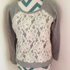 Forever 21 Lace Sweatshirt Adorable gray cropped sweatshirt with cream lace design on the front. Super comfy. Pair with a long cami and your set! No flaws. Forever 21 Tops Sweatshirts & Hoodies